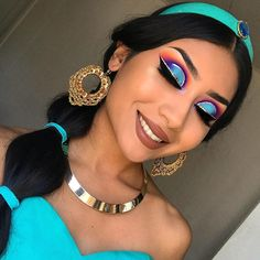 [New] The 10 Best Makeup Today (with Pictures) - Beautiful and dreamy Jasmine look done by Who is your favorite Disney princess? Makeup Eye Looks, Eye Makeup Art, Halloween Makeup Looks, Crazy Makeup, Cute Makeup, Pretty Makeup, Princess Jasmine Makeup, Disney Princess Makeup, Princess Jasmine Costume
