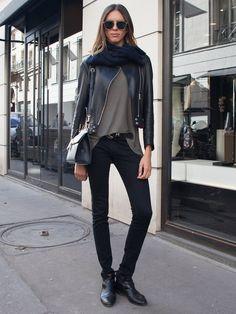moto & skinnies. #GeorgiaHilmer #offduty in Paris.