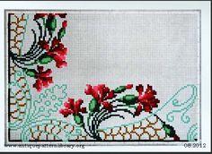 Art Nouveau cross-stitch corner - carnation