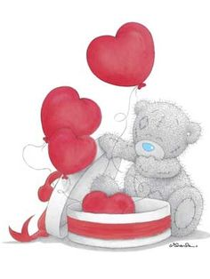 Tatty Teddy and heart balloons Tatty Teddy, Teddy Images, Teddy Bear Pictures, Das Abc, Blue Nose Friends, Bear Illustration, Love Bear, Cute Teddy Bears, Bear Art
