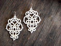 Light Ivory lace chandelier earrings//Tatting lace//Bridal earrings//Tatted jewelry//Lace jewelry//L Tatting Jewelry, Lace Jewelry, Tatting Lace, Jewelry Crafts, Tatting Earrings, Lace Earrings, Bridal Earrings, Chandelier Earrings, Crochet Earrings