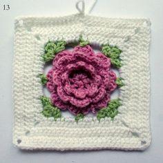 Pitsin viemää: Ohje virkattuun ruusuun isoäidinneliössä Pot Holders, Flowers, Hot Pads, Potholders
