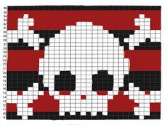 Ideas For Knitting Charts Skull Fair Isles Crochet Skull Patterns, Knitting Patterns Boys, Intarsia Patterns, Bead Loom Patterns, Knitting Charts, Loom Knitting, Stitch Patterns, Cross Stitch Skull, Cross Stitch Embroidery