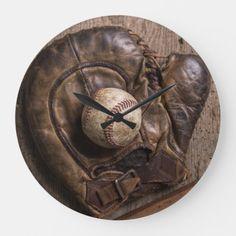 Vintage Baseball Equipment Large Clock #design #gardening #geek baseball party, baseball room, baseball mom, back to school, aesthetic wallpaper, y2k fashion