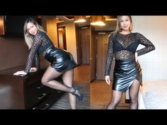 SHINY BLACK PANTYHOSE WITH SHEER PRINT TOP & FAUX LEATHER SKIRT | HOW TO STYLE WITH HOSIERY - YouTube Cr7 Juventus, New Twitter, Black Pantyhose, Faux Leather Skirt, Nba Basketball, Hosiery, Women's Fashion, Mini, Videos