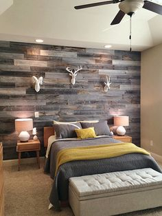 Peel and stick wood planks give this bedroom a rustic, moody vibe.