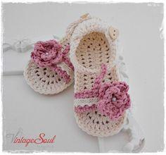 Sandalias de niña de bebé hecha a mano /Egyptian cotton de
