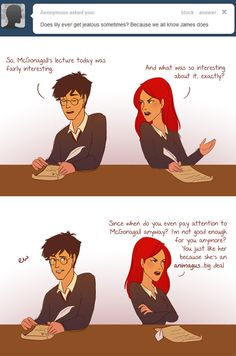 """Many of the questions ask about what James and Lily's relationship was like while they were at Hogwarts. 