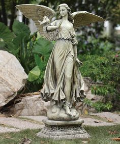 Look at this 46.5'' Garden Angel On Pedestal Statue on #zulily today!