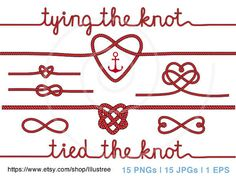 tying the knot, rope heart clip art for wedding invitation, anchor, nautical clip-art, digital clipart, scrapbooking, instant download