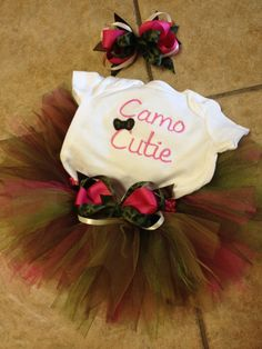 Camo Cutie onesie camouflage and pink tutu by sewsosweetdesigns, $37.00