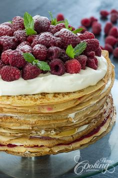 White chocolate raspberry crêpe cake