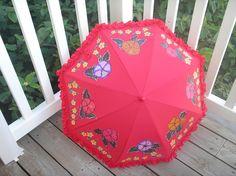 Red flowered parasol for Rain or Shine. $29.99, via Etsy.
