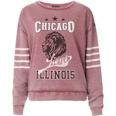 TOPSHOP College Chicago Sweat ($15) ❤ liked on Polyvore featuring tops, hoodies, sweatshirts, sweaters, shirts, jumpers, burgundy, topshop shirts, red sweatshirt and burgundy top