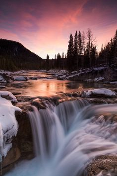 A long exposure of a small water fall at sunset in the winter. by Riley JB - Waterfall, Wilderness - Stocksy United Landscape Photography Tips, Landscape Photos, Nature Photography, Fall Landscape, Beautiful World, Beautiful Places, Beautiful Pictures, Beautiful Scenery, Beautiful Waterfalls