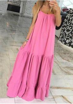 Solid Ruffled Plus Size Casual Strap Dress Best Maxi Dresses, Day Dresses, Cotton Dresses, Casual Dresses, Fashion Dresses, Summer Dresses, Summer Maxi, Trendy Dresses, Dress Skirt