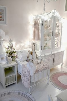 Shabby white little girls bedroom and bunnies too. Just perfect!