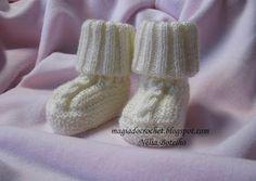Magia do Crochet: Botinhas em tricot para bebé