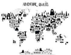 Animal world map print monochrome nursery world map adventure animal world map print monochrome nursery world map adventure nursery map art kids world map poster black white scandinavian nursery decor gumiabroncs Choice Image
