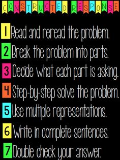 Steps for Solving Math Constructed Response Problems