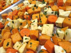 Easy roasted veggies turn into an equally easy soup -- just puree with some broth. Throw on some impressive-looking homemade croutons (really just sprouted grain bread tossed with olive oil and baked). Delicious.