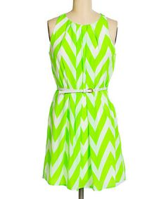 This brandon & ashley Lime & White Chevron Belted Sleeveless Dress by brandon & ashley is perfect! #zulilyfinds
