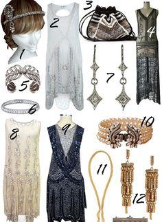 20er-Jahre-Mode-Kopfschmuck-Haenger-Kleid-weiss-schwarz-Schmuck-Haarband