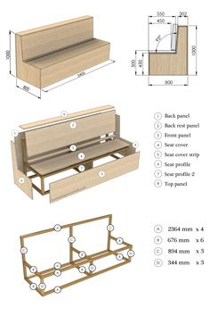 Tutorial on how to build an outdoor seat from CNC cut plywood panels and timber sections. seating diy how to build DIY Bench Project Kitchen Seating, Banquette Seating, Kitchen Benches, Corner Kitchen Tables, Kitchen Booths, Kitchen Banquette, Corner Bench, Diy Wood Projects, Furniture Projects