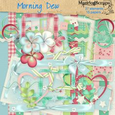 Daisies & Dimples Morning Dew [Mandogscraps] - This delightfully fresh kit is for everyday use 37 elements and 15 background papers in this full size kit Personal use Please note: Some items in this kit were included in the Daisies and Dimples Morning Dew collaboration kit