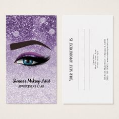 Purple glam lashes eyes   makeup artist business card - makeup artist gifts style stylish unique custom stylist