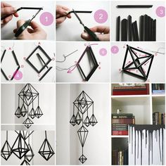 Do you know that these stunning hanging decorations are made from straws? I really like these solid geometric styles. The materials are very simple: a needle, thread and straws with whatever colors you like. It requires some details to connect the straws and here is a tutorial to show you …