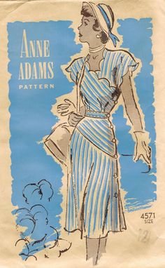 1940s Anne Adams 4571 Dress Pattern Scalloped Neckline and Sleeves and Side Button Detail Bust 30 WWII RARE Vintage Sewing Pattern
