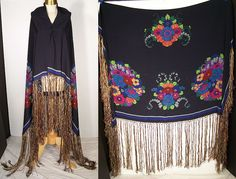 Art Deco Silk Screen Floral Fringe Shawl Scarf  Front view.