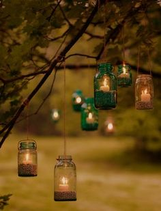 hanging candles, jars, blue, colourless, garden