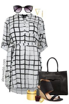 Plus Size Checked Dress - Plus Size Workwear - Plus Size Outfit Idea - alexawebb.com #alexawebb