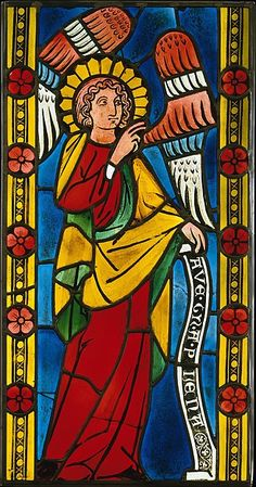 """This stained glass painting titled """"The Angel Annunciate"""" was made in Germany around 1300 A.D. I wanted to show another technology that we talked about from a slightly earlier time period in history. In class we spoke briefly about how stained glass became the fashion, and how it was reserved for only the most elite churches. This is an example of the exceptional German glass painting of the time."""
