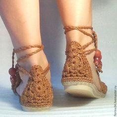 Обувь ручной работы. Сандалии вязаные Beauty, оранжевый, лен. Елена Гончарова Вязаная обувь. Ярмарка Мастеров. Подарок