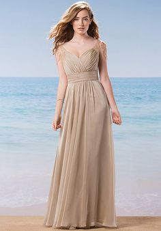 A-line chiffon bridesmaid dress with embellished sleeves | Belsoie | Style: L184009