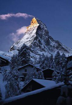 Matterhorn at Sunrise,  village of Zermatt, Switzerland