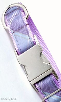 Lavender dog collar.  Shades of purple-violet, plum, lavender, lilac, orchid. Pretty plaid dog collar for girls