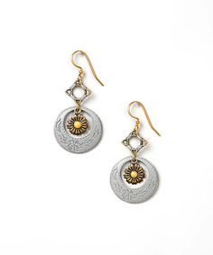 Another great find on #zulily! Two-Tone Flower Hoop Drop Earrings #zulilyfinds