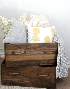 DIY vintage wood crate storage boxes- i love how the stain and the handles create a rustic look. Crate Storage, Diy Storage, Storage Boxes, Pillow Storage, Blanket Storage, Wood Storage, Storage Ideas, Homemade Storage, Blanket Box