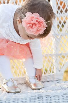 Peach Coral Headband - Baby Headband - Ivory Headband