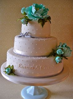 Tiffany blue peony cake...this is really adorable honey...andthe color of the tiffany blue is dead on...whatcha think?
