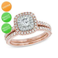 Zales: 1 CT. T.W. Diamond Double Frame Bridal Set in 14K Rose Gold