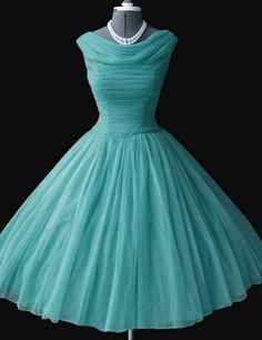 [$98.99] Cute A-line Blue Corset Cowl Neck Chiffon Prom Dress With Ruffles