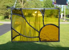 Stained Glass Suncatcher Abstract Sunflower Gold / Yellow