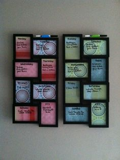 The kids chore chart/ great way to utilize picture frames. Love the scrap book paper behind the glass.