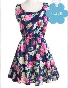 Elegant Scoop Neck Floral Print Sleeveless Chiffon Dress For Women