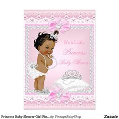 Princess Baby Shower Girl Pink Tiara Heart Ethnic 5x7 Paper Invitation Card